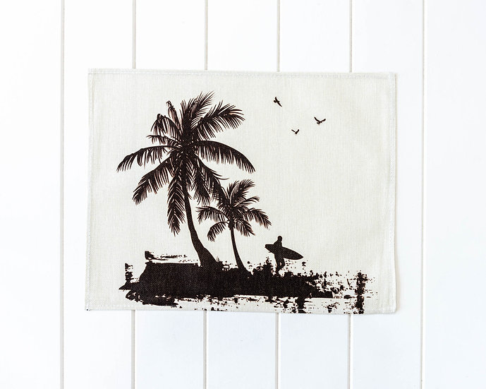 Placemat - Linen Look - Surfs Up Palms