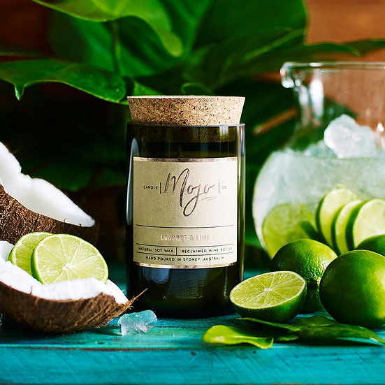 Coconut & Lime - Reclaimed Wine Bottle Soy Wax Candles