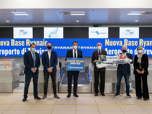 Ryanair Announces New Base at Venice Treviso and Opens Paris Beauvais Base