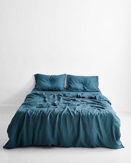 Petrol 100% Flax Linen Bedding Set