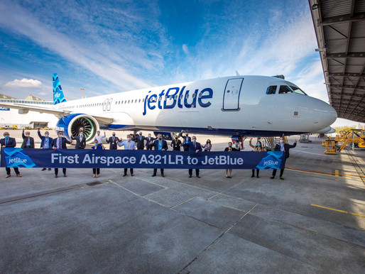 JetBlue Takes Delivery of First Airbus A321LR Featuring New Airspace Cabin
