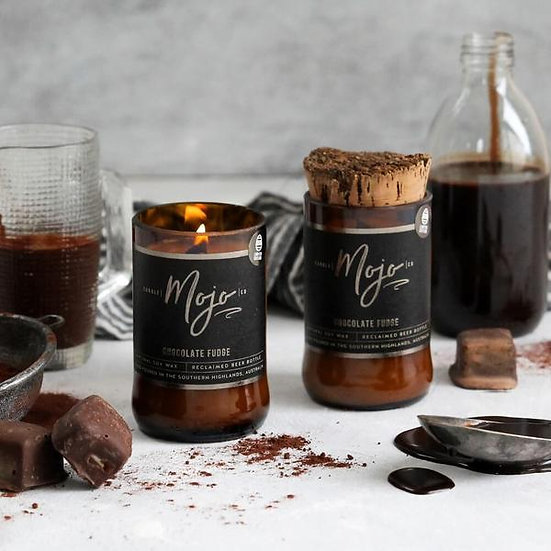 Chocolate Fudge  - Wood Wick Reclaimed Beer Bottle Candles