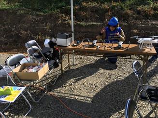 江の川片山地区河川改修事業着工報告会にドローンブース出展と撮影を行いました