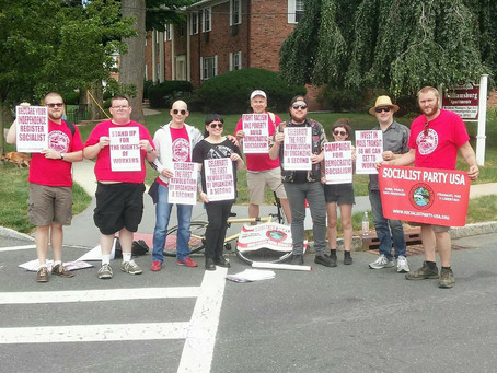 NJ Socialists March in Montclair 4th of July Parade