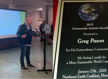 "Northern NJ Local Member Awarded ""Northeast Earth Coalition ""Community Activist Award"""