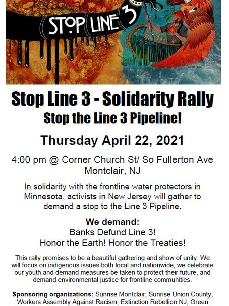 Northern NJ Local Joins Line 3 Protest on Earth Day in Montclair
