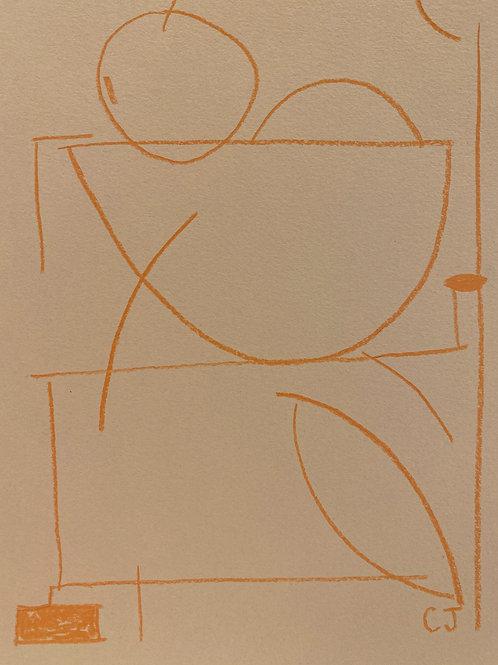 Orange Pencil on blue paper