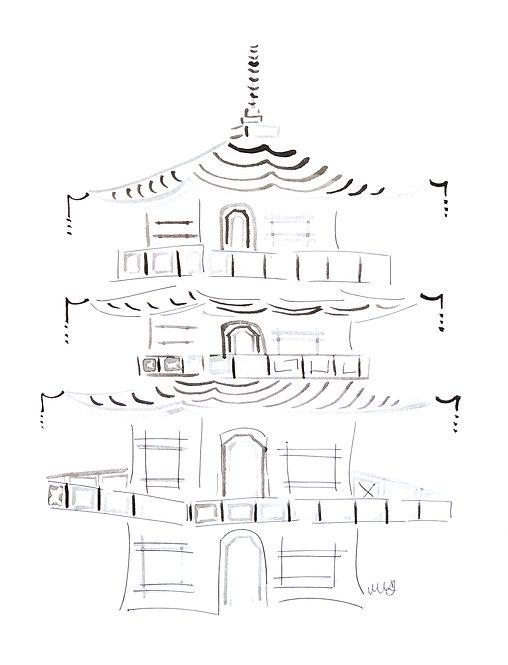 XL B&W Pagoda