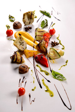 grilled vegetable with star anis carot puree