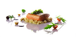 salmon with spazles & wine reduction