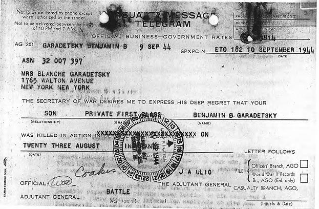 Telegram that Benjamin's mother received