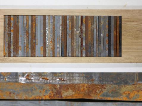 Blechbänder /// Eiche, natur, 35 x 116 cm, 2013
