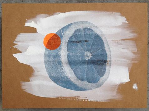 Zitrone (Zwölffingerdarm) /// Transferdruck auf Wellpappe, 29 x 39 cm, 2016