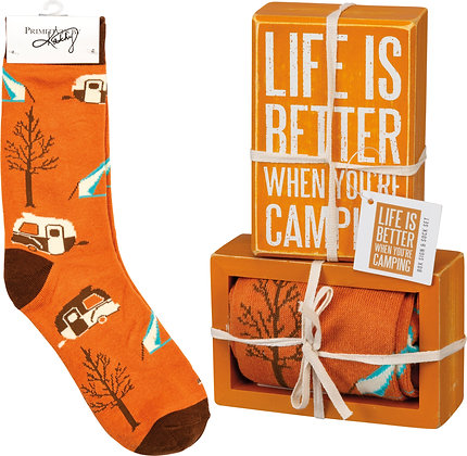 Box Sign & Sock Set - Life is Better When You're Camping