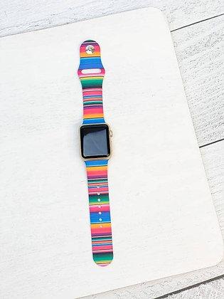 Serape Stripe Printed Silicone Watch Band - S/M