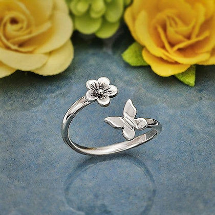 Sterling Silver Butterfly and Flower Adjustable Ring