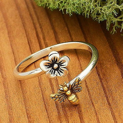 Sterling Silver  Flower and Bee Adjustable Ring