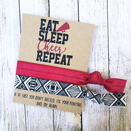 Eat Sleep Cheer Repeat Hair Tie Set