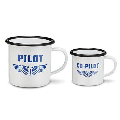 Enamelware Pilot/Co-Pilot Mug Set of 2
