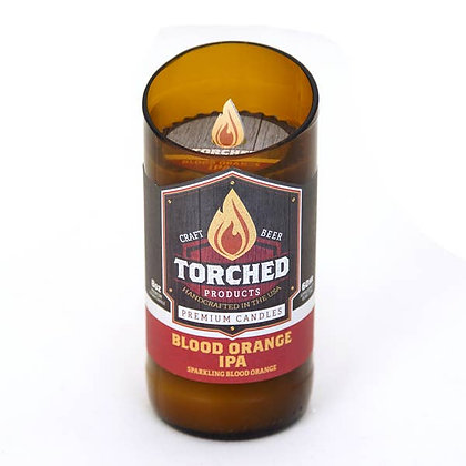Torched Beer Bottle Candle 8 oz - Blood Orange IPA