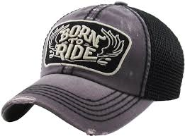 Born To Ride Vintage Ballcap (Distressed Black)