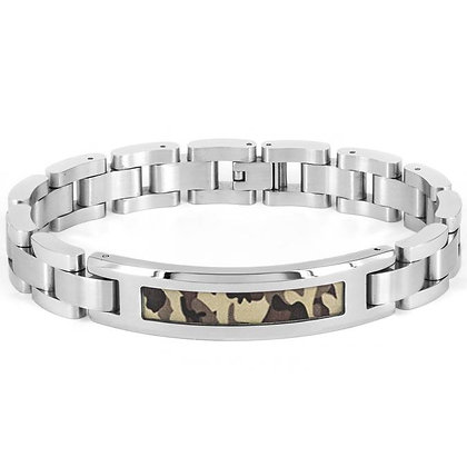 Men's Polished Camouflage ID Link Bracelet