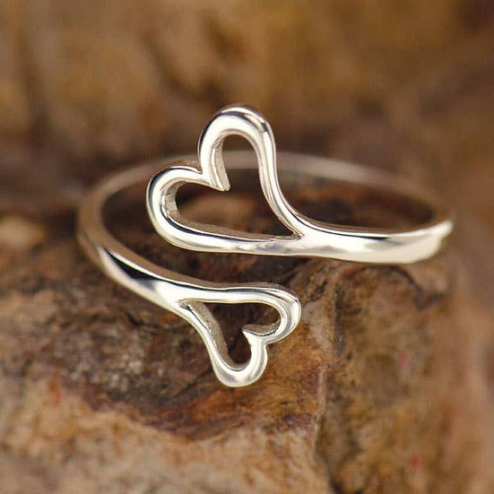 Sterling Silver Double Heart Adjustable Ring
