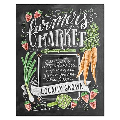 Chalk Art Print - Farmers Market (Spring) 8x10