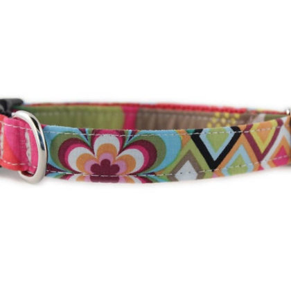 Rainbow Flower Mosaic Dog Collar - Small