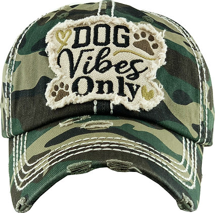 Hat - Dog Vibes Only (Distressed Green Camo)