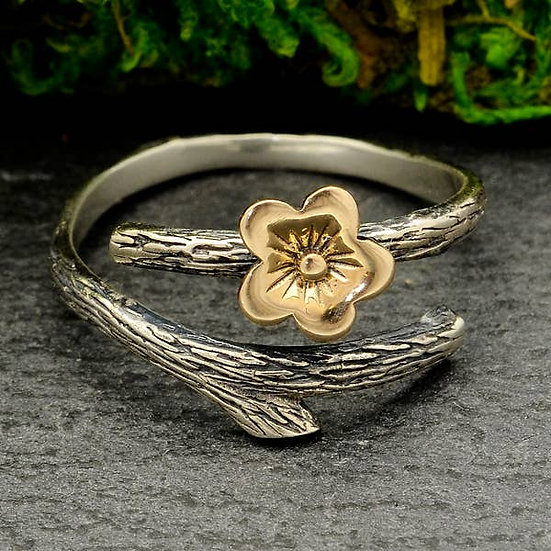 Sterling Silver Branch with Bronze Cherry Blossom