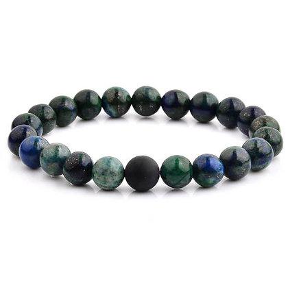 Polished Natural Stone Bead Stretch Bracelet Azurite