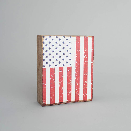 Flag Decorative Wooden Block