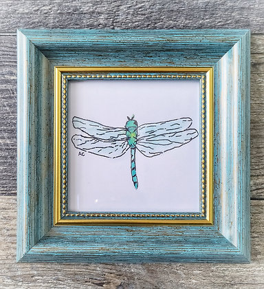 Framed Watercolor Print - Dragonfly