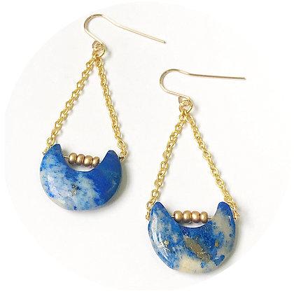 Lapis Lazuli Moon Drop Earrings