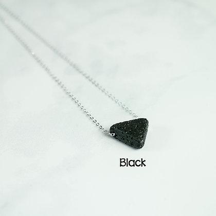 Triangle Lava Stone Essential Oil Diffuser Necklace - Black