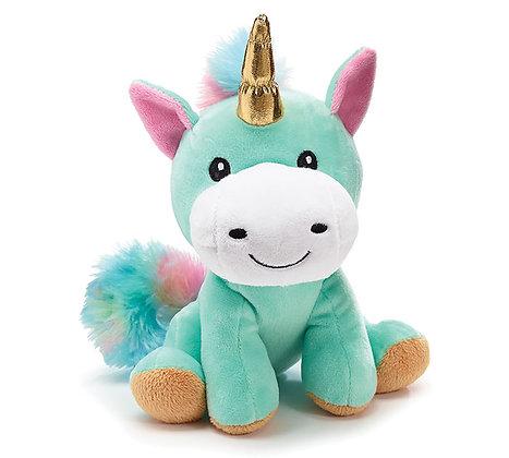 Plush Rainbow Unicorn with Gold Horn