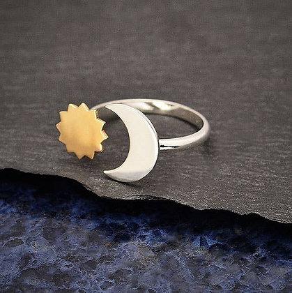 Mixed Metal Sun & Moon Adjustable Ring