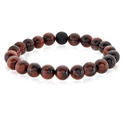 Polished Natural Stone Bead Stretch Bracelet Red Tiger's Eye