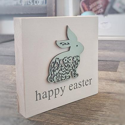 Happy Easter Bunny Shelf Sitter - Mint