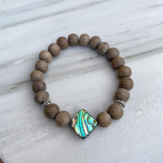 Abalone Shell & Graywood Essential Oil Diffuser Bracelet