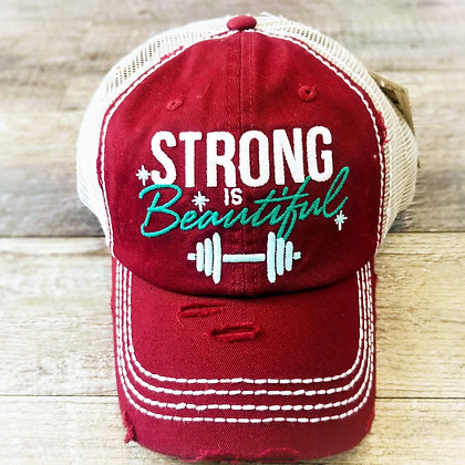 Hat - Strong is Beautiful - Burgundy/Tan Mesh