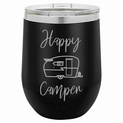 Stainless Tumbler - Happy Camper (Black)