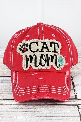 Hat - Cat Mom - Distressed Salmon