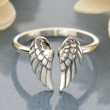 Sterling Silver Angel Wings Adjustable Ring