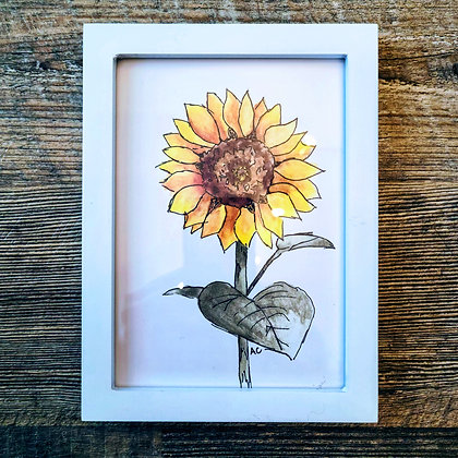 Framed Watercolor Print 5x7 - Sunflower