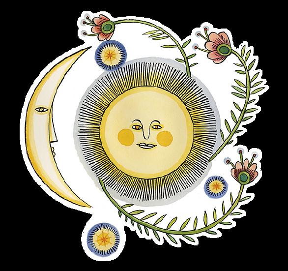 Artists to Watch Vinyl Sticker - Moon & Sun