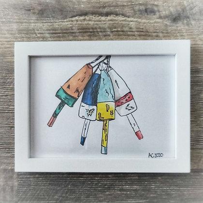 Framed Watercolor Print 5x7 - Buoys