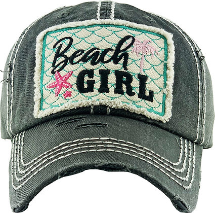 Hat - Beach Girl (Distressed Black)