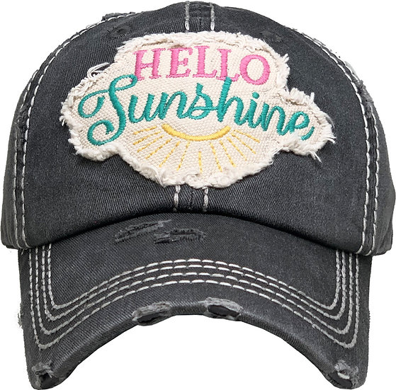 Hat - Hello Sunshine (Distressed Black)
